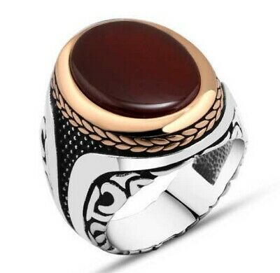 Turkish Jewelry 925 Sterling Silver Red Agate Aqeeq Stone Men LUX Ring ALL SİZE