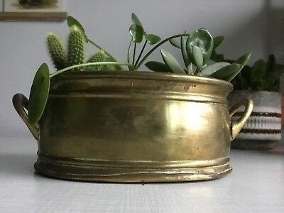 Vintage Solid Brass Planter Plant Pot Trough Handled Indoor Succulent Cactus