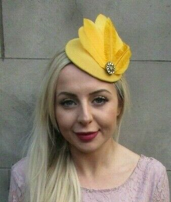 Mustard Yellow Gold Feather Pillbox Hat Fascinator Hair Races Headpiece 7031