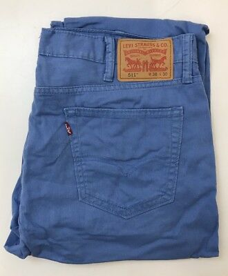 J1293 Levis's 511 Mens Light Weight Blue Chinos Jeans Trousers  W38  L30