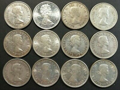 Lot of 12 VG to MS 1960's Canadian 80% Silver Quarters Coins