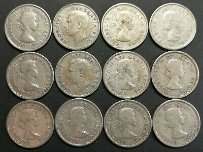 Lot of 12 G to F 1950's Canadian 80% Silver Quarters Coins