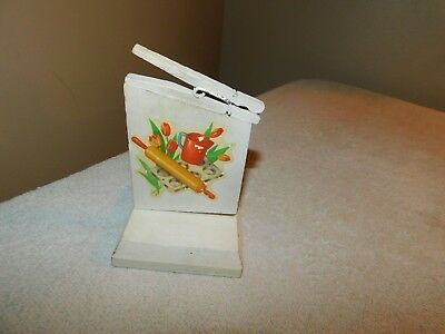 Vintage Recipe Holder Wood w/ Decals and Clothespin