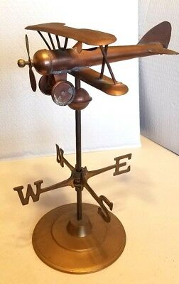 Antique Copper And Brass Biplane Weather Vane Table Model