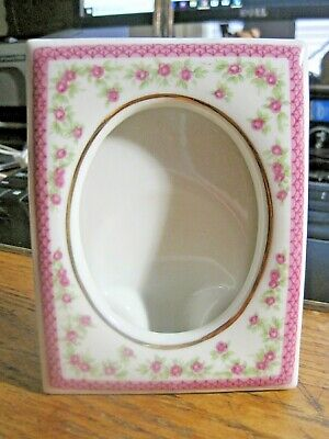Retro Lefton Hand Painted Floral Picture Frame Pink Chintz Tea Roses Gold Trim