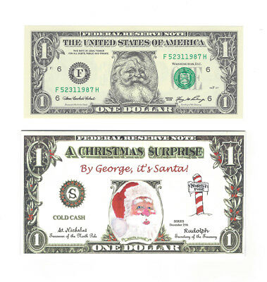 "Series 2006 Santa $1 Us Fed. Reserve Dollar Note"" Unc.with Card & Envelope Rare!"