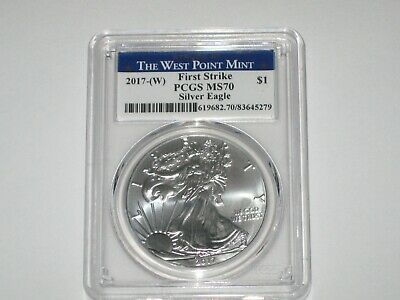 2017-(W) Silver American Eagle - PCGS MS70  First Strike West Point Mint Label