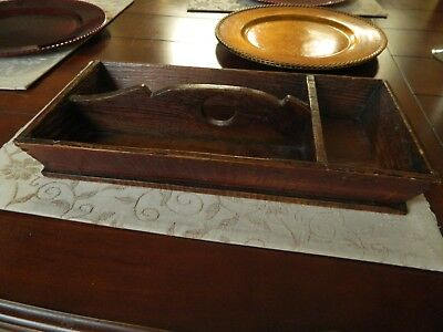 Antique Primitive Vintage Wood Cutlery Utensil Caddy Carrier Box Tray Farmhouse