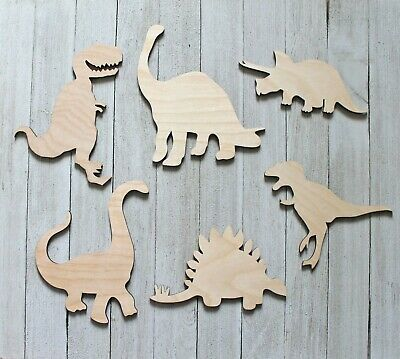 6-Pack Dinosaurs Boy's Room Decor Wall T REX Laser Unfinished Wood Cutout Crafts