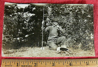 Vintage Photo of Fisherman Man with Fish, Fishing Pole and Creel #19