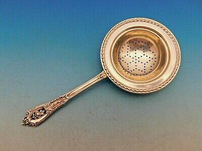 Rose Point by Wallace Sterling Silver Tea Strainer Rare w/ Gadroon Edge Pierced
