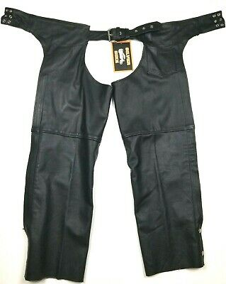 NWT Mens Silver Bike Black Leather Riding Motorcycle Chaps Pants Size Medium