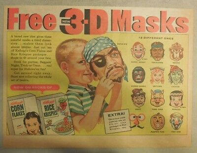 "Kellogg's Cereal Ad: Rice Krispies ""3-D Masks"" Premium from 1950's"
