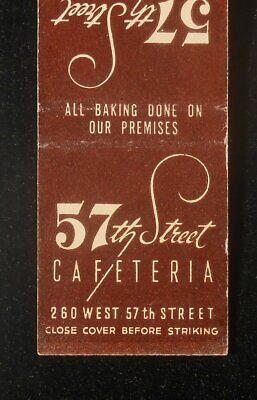 1950s 57th Street Cafeteria 260 West 57th Street NYC NY Matchbook New York