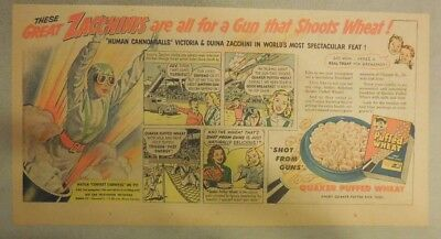 Quaker Cereal Ad: Great Zachinnis Circus Puffed Wheat Ad 1930's 7.5 x 15 inches