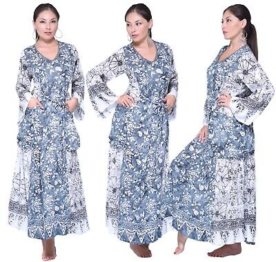 Women's Boho Dress - Batik Art To Wear Pockets - Long Sleeve LotusTraders Z732