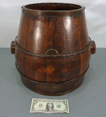 Large Antique Unique Design Staved Wood Barrel w/Iron Bucket Keg Pail Wooden Vtg