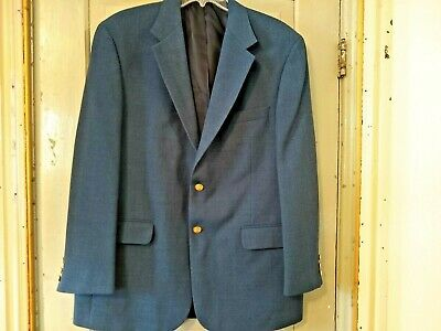 Stafford 43 R Suit Coat Blazer 2 Button  Brass Lined Blue