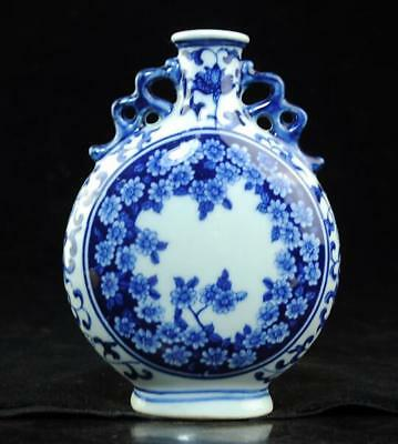 Chinese old Blue and White porcelain flower pattern vase /qianlong mark 11 c01