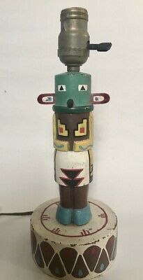 Vintage PAINTED KACHINA DOLL on a DRUM TABLE LAMP - HAMDMADE, c. 1930s