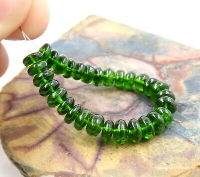 """AAAAA VIBRANT GREEN 4.8-5.4mm CHROME DIOPSIDE BEADS 3.20"""" STRAND 19.55ct"""