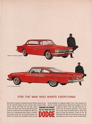 1961 Full Size Dodge Dart & Compact Dodge Lancer Red Man Who Wants Everything Ad