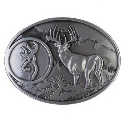 Browning Buckmark Belt Buckle Pewter Color Deer Country Hunting Fishing