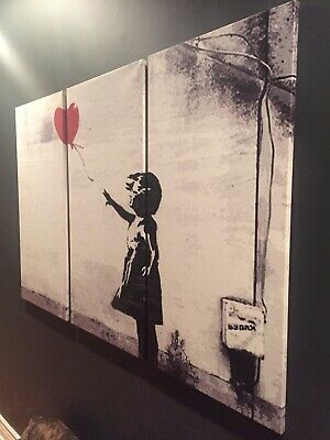 Banksy Girl With Balloon Reproduction Triptych