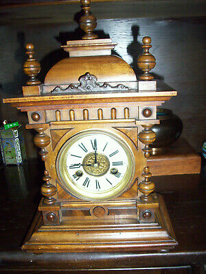 Antique HAC Mantel Bracket Table Clock  pendulum 14 day ( working )