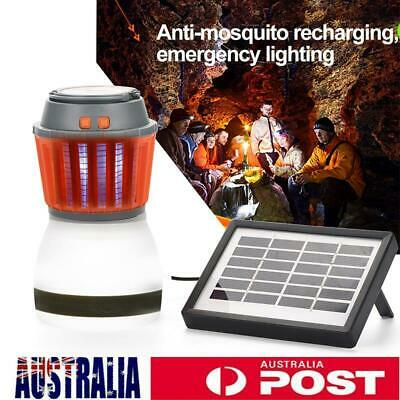 Solar Portable Outdoor Mosquito Fly Bug Insect Zapper Killer Lamp w/Solar Panel