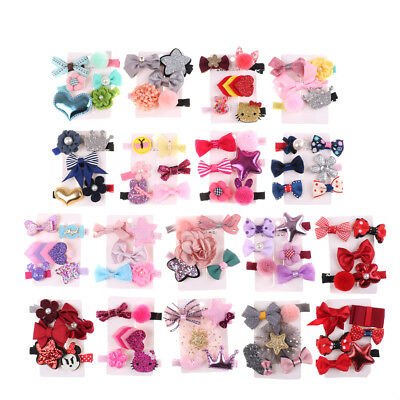 1 set Hairpin Baby Girl Hair Clip Bow Flower Mini Barrettes Star Kids Infant H&P