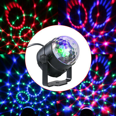 Auto RGB LED Mini Crystal Magic Rotating Ball Stage Lights 3W Disco DJ Lamp A2S4