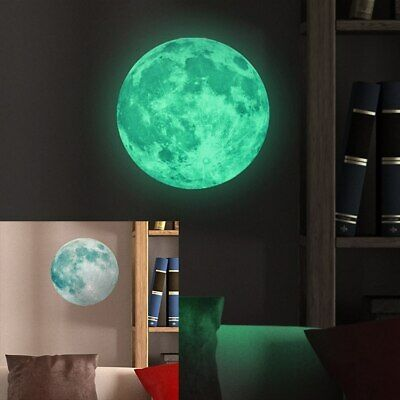 Wandtattoos 30cm Large Moon Glow in Dark Luminous Wall Sticker Living Home Decor