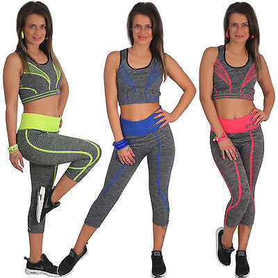 Femmes Capri Legging Sport Pantalon Stretch + Top Lot Fitness Rayures Fluo c94fe5d0386