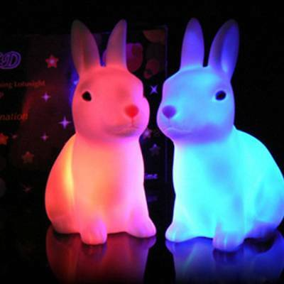Lovely Color Changing LED Lamp Night Light Rabbit Party Decor Gift Home Shape