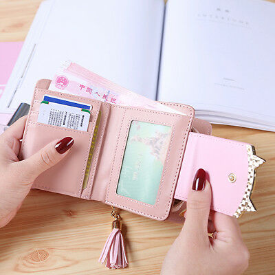 Fashion Ladies Cat Leather Cat Zip Small Coin Purse Womens Wallet Card Holder SI