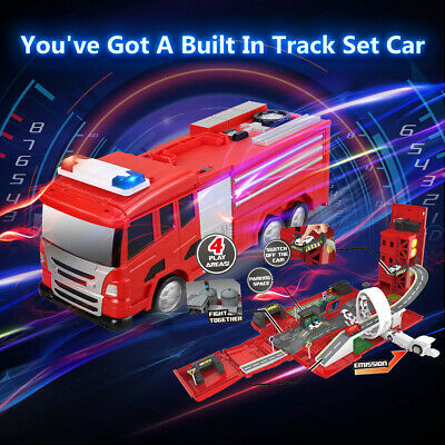 Virhuck Transformed Fir Truck Parking DIY Building Car Vehicle City Track Toy US