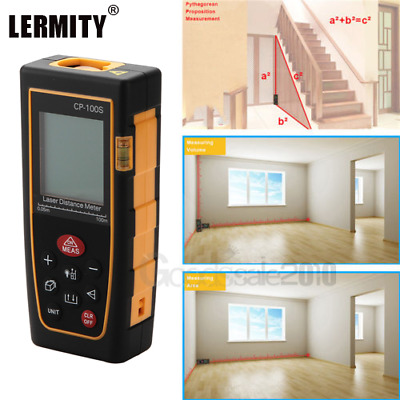 100M / 328ft 】Digital LCD Laser Distance Meter Range Finder Measure Tape Tool