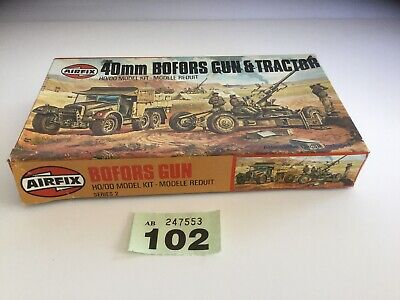 AIRFIX OO SCALE MODEL KIT 40mm Bofors Gun And  Tractor Boxed  Kit 1970's Lot 102