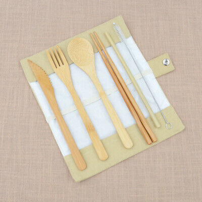 Portable Bamboo Cutlery Travel Eco-friendly Fork Spoon Straw Flatware Pouch Sets
