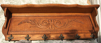 Old French Carved Solid Oak Coat Hat Rack Cherubs Angel Hooks wall shelf Kitchen
