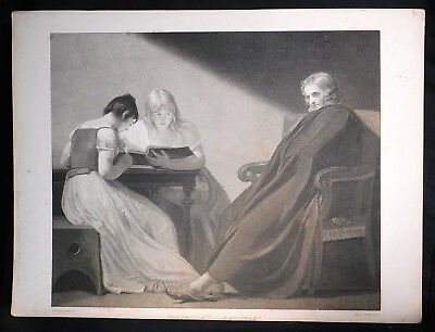 Antique English Stipple Engraving Portrait Milton Daughters Benjamin Smith 1795