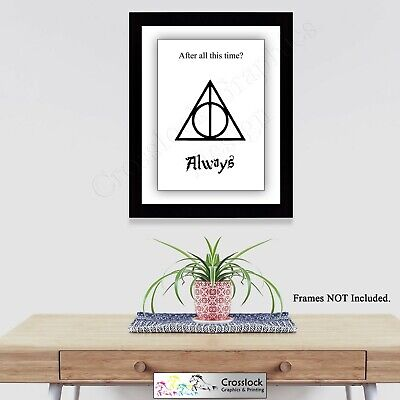 Harry Potter Typography Deathly Hallows A4 Photo Poster Print ONLY Wall Art