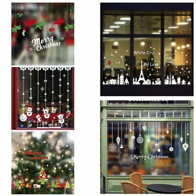 DIY Christmas Wall Stickers Shopping Mall Glass Display Window Decal Sticker &~