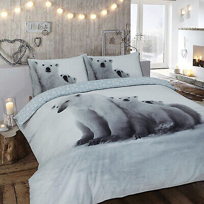 100% Cotton Flannelette Polar Bear King Duvet Cover Sets With Two Pillow Cases