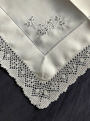 Edwardian Vintage White Linen Butlers Tray Cloth Crocheted Edging & Embroidery