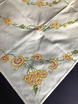 Very Pretty Vintage Floral Hand Embroidered Large Square Cream Cotton Tablecloth