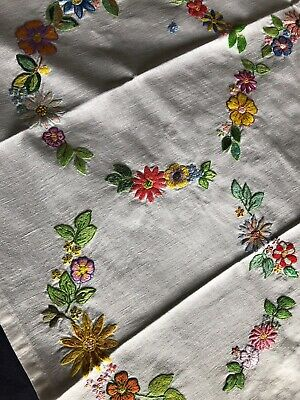 Pretty Vintage Floral Heavily Hand Embroidered Small White Cotton Tablecloth