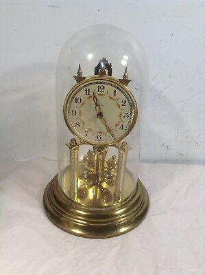 Vintage Kerr Anniversary Clock Germany With Glass Dome