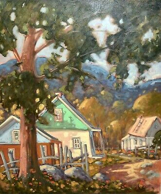 """ORIGINAL 30"""" X 36"""" 1996 Quebec Oil Painting Gilles Bédard i.a.f House under tree"""